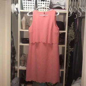 salmon scalloped dress